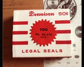 1pkg VINTAGE DENNISON SEALS Legal Gummed Small Red Notarial Seals Original Box Notary Labels Stickers Full Box 32-419