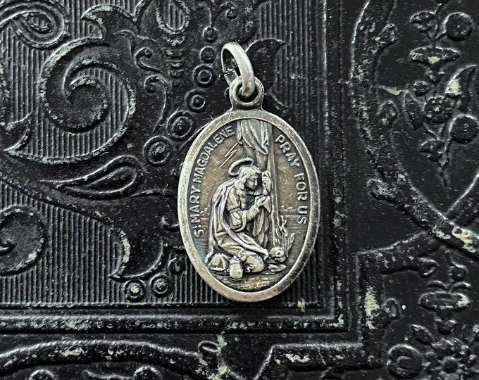 MARY MAGDALENE MEDALLION Vintage Religious Medal St. Martha Patron Saint of Apothecary + Anxiety Catholic Jewelry Gift Pendant Italy