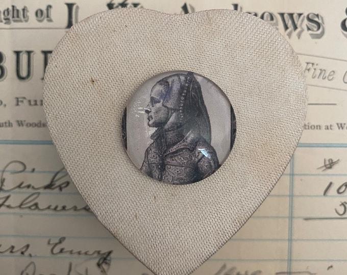 MOMENTO MORI BOX Mary Tudor Vintage Heart Shaped Satin Box + Glass Cabochon English Queen Visibly Aged Gift Box Small Keepsake