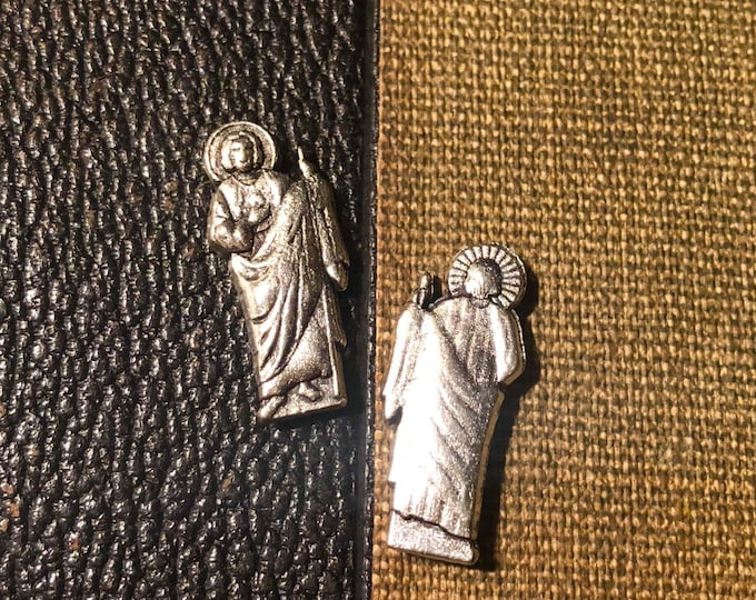 SAINT JUDE STATUETTE St. Jude Tiny Statue Pocket Shrine Silver Miniature Religious Lot Devotions Catholic Token Amulet