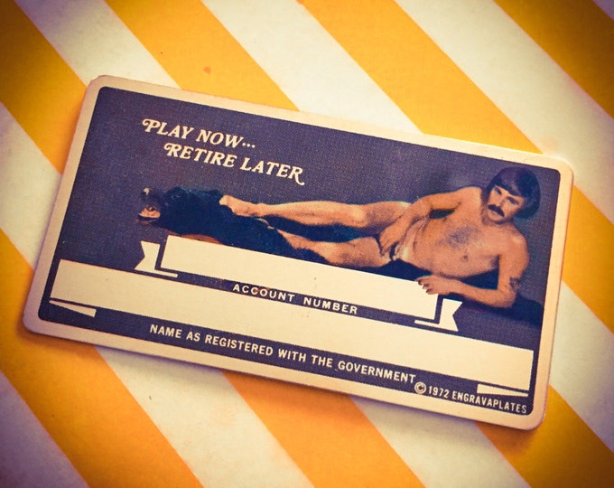 1970s NUDE IDENTIFICATION CARD Vintage Play Now Retire Later Mature Style B