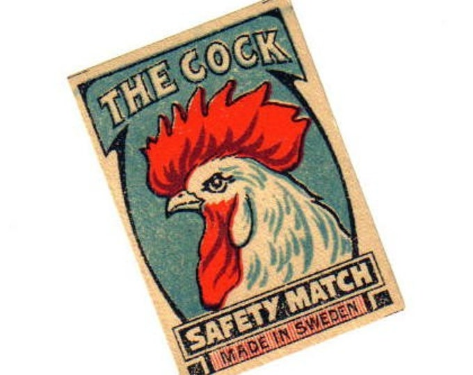 THE COCK LABEL 1920s Antique Matchbox