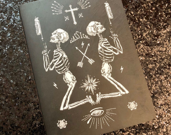 1pc SKELETON POCKET JOURNAL Illustrated Eye Of Providence Budded Cross Skull Arrow Bird Lightning Bolts 24 Kraft Pages Black