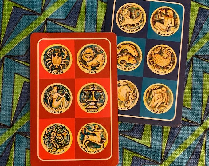 2pcs VINTAGE ZODIAC CARDS Retro Head Shop Horoscope Paper Ephemera Astrology Supplies Junk Journal Single Cards Lot