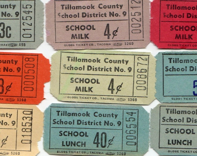 45pcs VINTAGE SCHOOL TICKETS 1950s Gorgeous Hues Tillamook County Oregon Lunch & Milk
