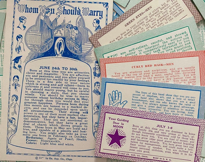 6pcs FORTUNE TELLER CARDS Vintage + Antique Exhibit Supply Instant Collection Marriage Star Moon Eye Color Palmistry Assorted Lot