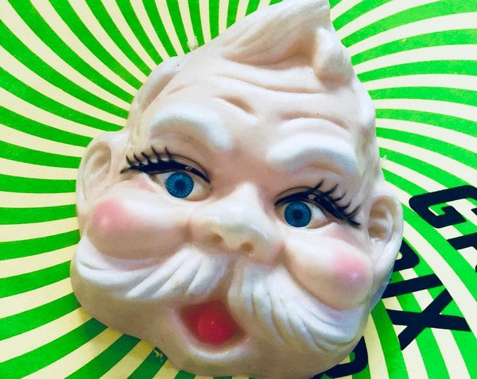 1pc SANTA DOLL FACE Vintage Christmas Decoration Plastic Doll Head Retro Big St. Nick