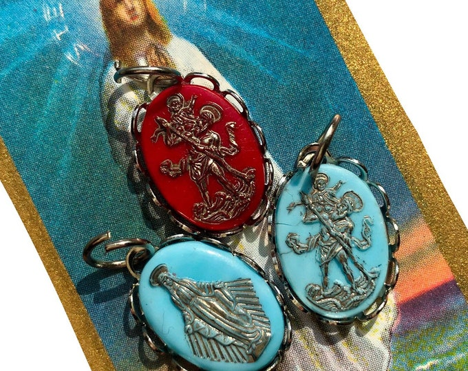 1pc GLASS SAINT CHARM Vintage Religious Medallion Virgin Mary Medal St. Christopher Old Catholic Pendant