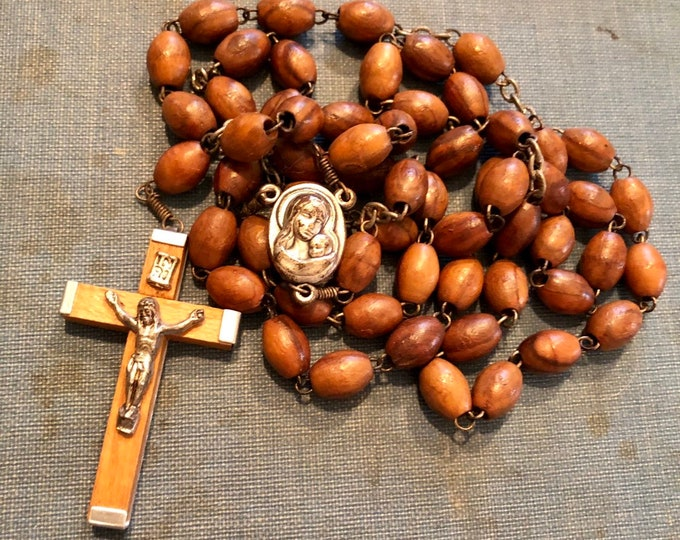 VINTAGE JERUSALEM ROSARY Olive Wood & Sacred Soil Crucifix Marked Jerusalem