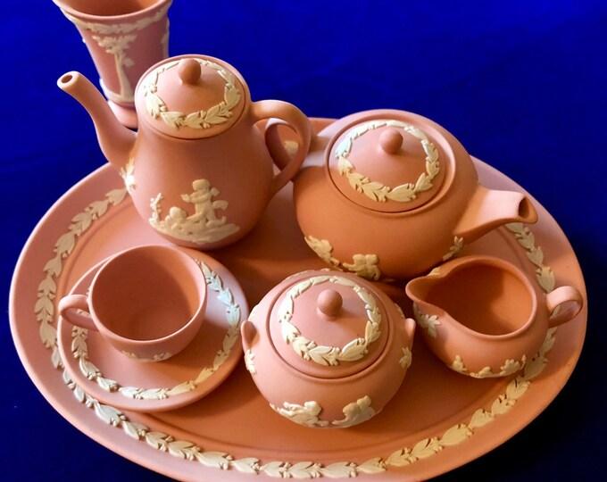 MINIATURE PINK WEDGWOOD Vintage Japserware Tea Set Tray Teapot Coffee Pot Cup Saucer Vase Sugar Creamer Pink Vintage Wedgwood Rare