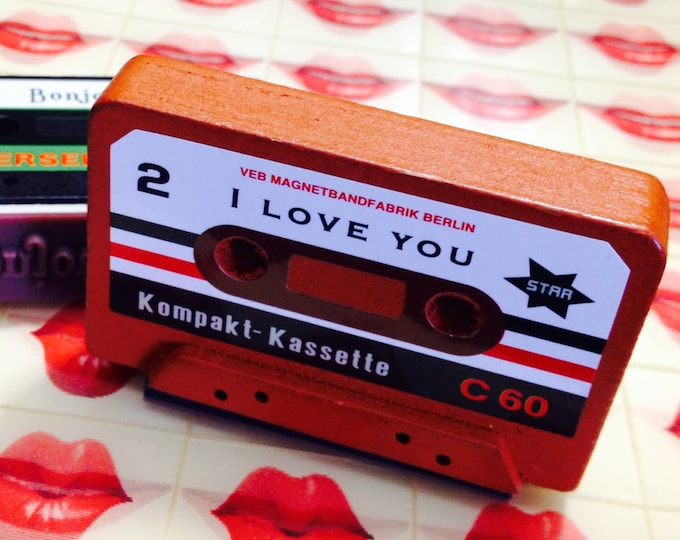 1pc CASSETTE RUBBER STAMP Wooden Kitsch Your Pick