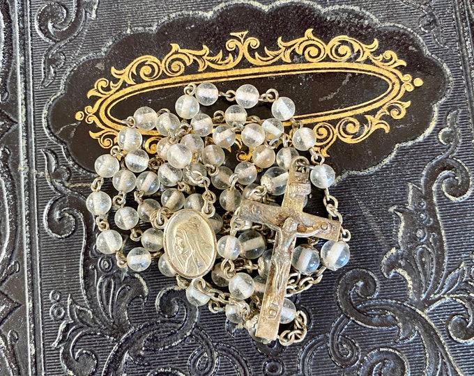 """VINTAGE GLASS ROSARY Clear Beads Delicate Catholic Devotional Complete 17"""""""