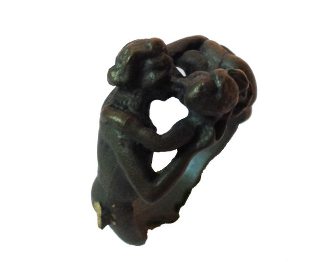 Bizarre VINTAGE LOVERS RING Clever Erotica Size 5