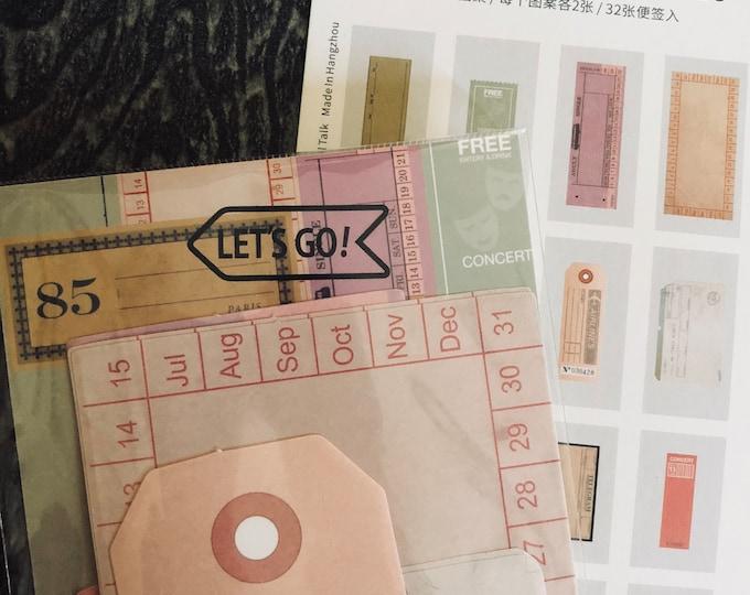 32pcs VINTAGE JOURNAL SPOTS Memo Paper Tickets & Tags Retro Designs