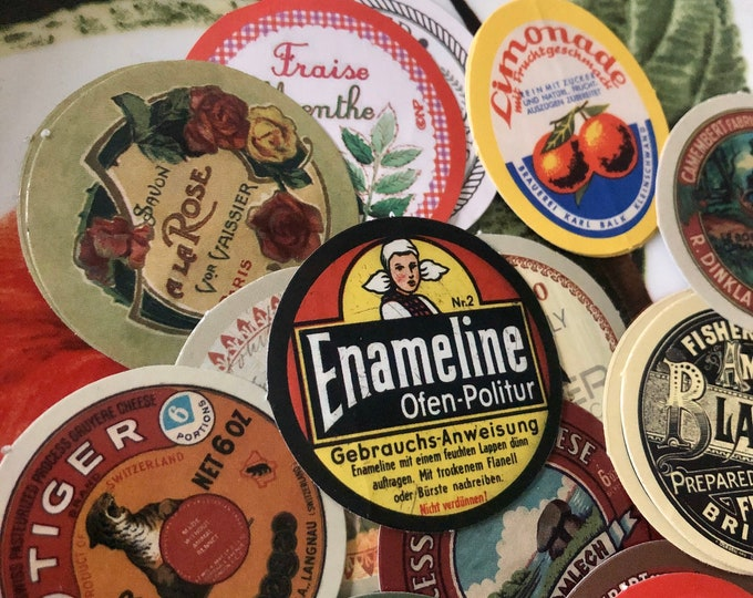 20+pcs VINTAGE PRODUCT STICKERS Domestic + European Brands Cheese Polish Beverage Perfume Repro Assortment Round Seals