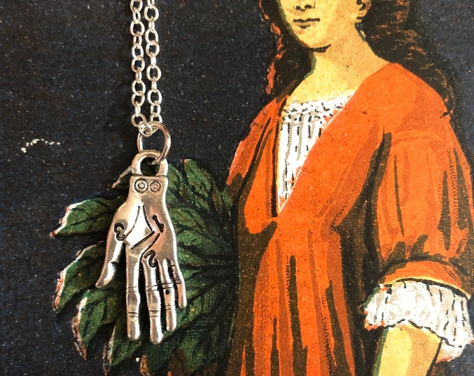 "MINATURE FORTUNE PALM Witchy Charm Palmistry Pendant Necklace Divination Hand Tarot Metaphysical Jewelry 22"" Chain"