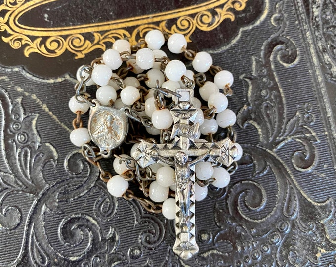 """VINTAGE GLASS ROSARY Milk Beads Delicate Catholic Devotional For Repair Or Parts Incomplete 16"""""""