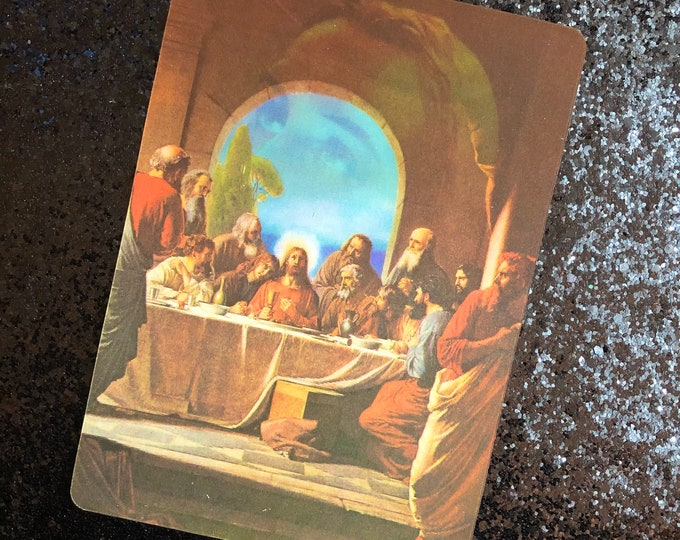 1pc LAST SUPPER POSTCARD Vintage Religious Vari-Vue Type Lenticular Post Card Altar Display Stationery Snail Mail Old Stock