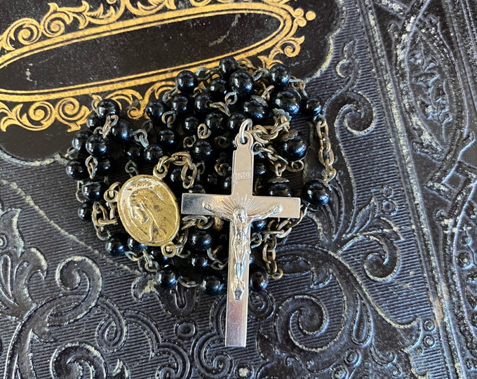 VINTAGE GLASS ROSARY Black Beads Old Catholic Devotional Complete 17""