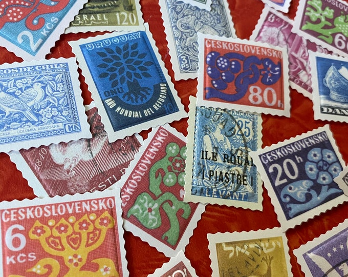 20pcs COLORFUL STAMP STICKERS Vintage Style Embossed Faux Postage Mail Art Ephemera Pack Scrapbooking Labels Seals Sticker Lot Pack A