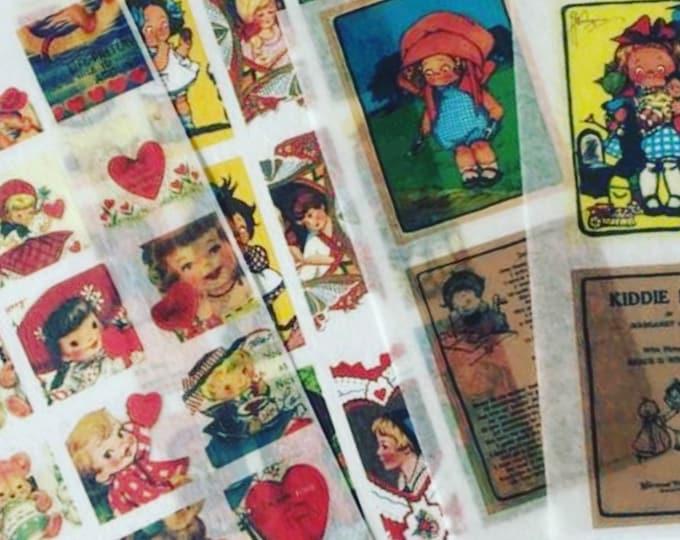 31pcs VINTAGE WASHI STICKERS Retro Style Ephemera Old Greeting Cards Paper Dolls Children Book Illustrations Gift Wrap Vellum Stickers Lot J