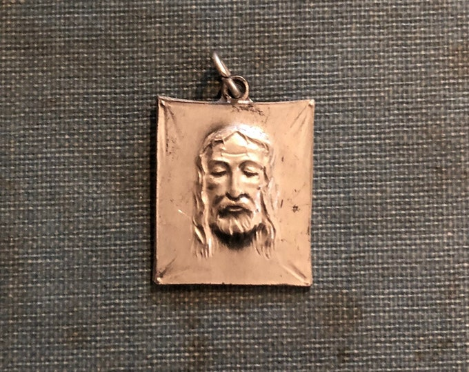 HOLY FACE MEDAL Vintage Shroud of Turin Medallion Silver Hard Metal Catholic Charm Incredible Detail