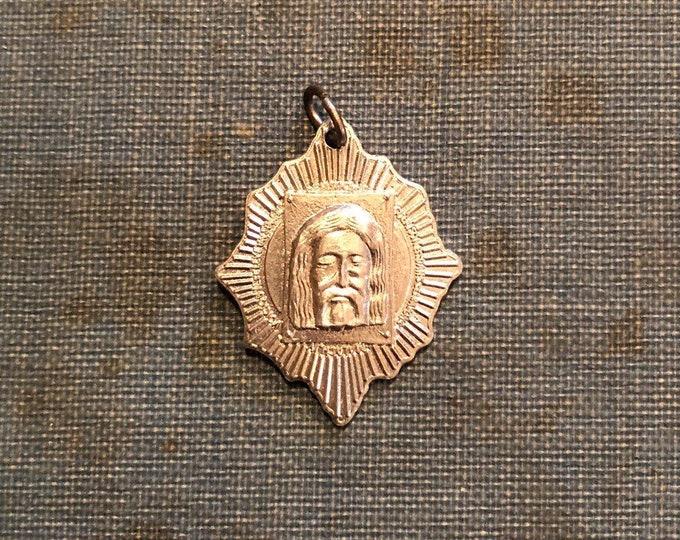 TURIN SHROUD MEDAL Vintage Holy Face Medallion Religious Charm Rare Catholic Medallion