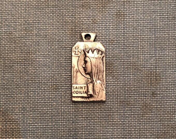 SAINT ODILIA MEDAL Vintage Religious Saint Medallion Patron Saint of Eyesight Catholic Jewelry Silver Pendant