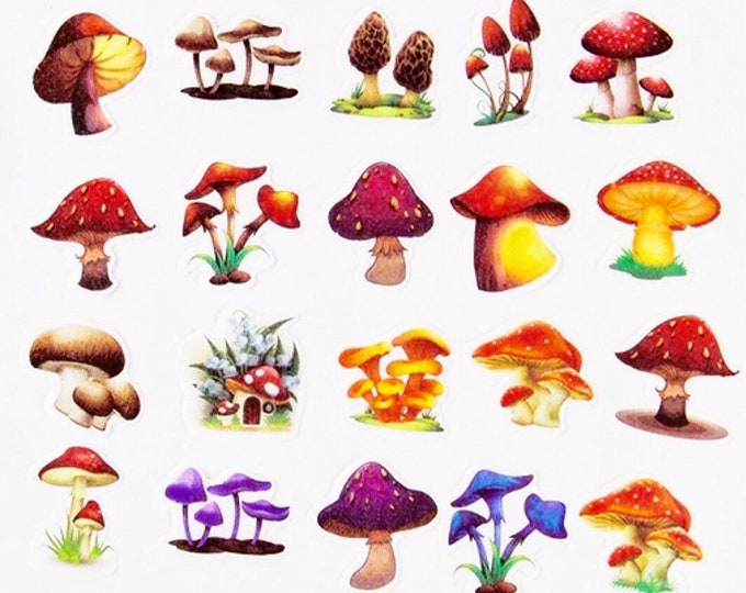 20pcs RETRO MUSHROOM STICKERS Vintage Style Fungi Labels Gift Wrap Stationery Ephemera Mail Art