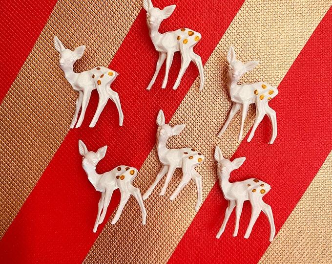 6pcs MINIATURE TINY DEER Vintage European Mini Hand Painted Doe Cream Colored Holiday Crafting Christmas Miniatures Lot