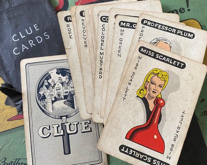 19pcs VINTAGE CLUE CARDS 1940s Game Pieces + Envelope Paper Ephemera Junk Journal Scrapbooking Lot