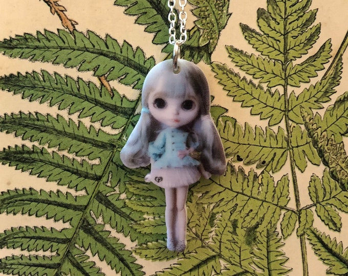 "DOLL NECKLACE MINIATURE Tiny Blythe Grey Hair Blue Dress Acrylic Charm Pendant Jewelry 22"" Silver Chain"