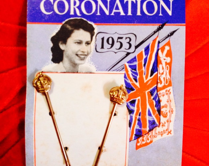 1953 CORONATION HAIR PINS Queen Elizabeth Vintage Original Pin Card England