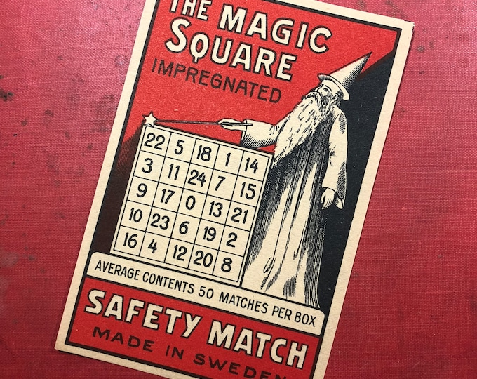 1pc MAGIC SQUARE LABEL Antique Large Match Box Label Swedish Paper Ephemera Number Wizard