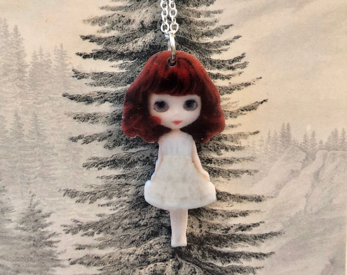 "MINIATURE DOLL NECKLACE Tiny Blythe Red Hair White Dress Acrylic Charm Pendant Jewelry 22"" Silver Chain"