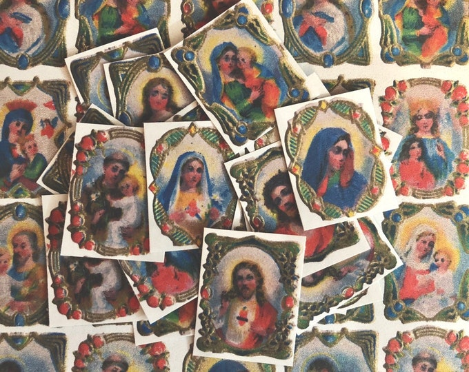24pcs RELIGIOUS SAINT STICKERS Tiny Antique Icons Vintage Austrian Catholic Ephemera Spiritual Old Labels Seals Lot