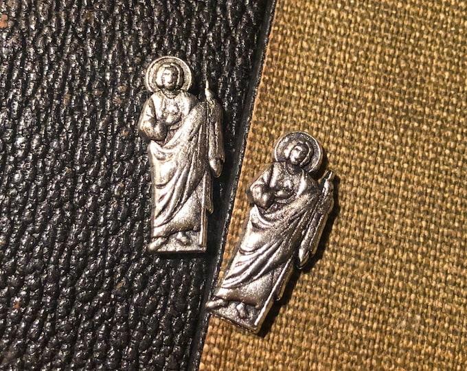 SAINT JUDE STATUETTE St. Jude Tiny Statue Pocket Shrine Silver Miniature Religious Lot Devotions Catholic Token Amulet
