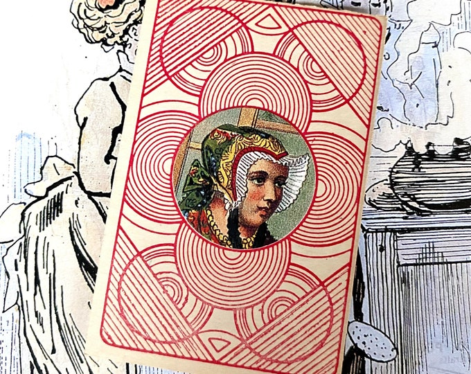 VINTAGE EPHEMERA CARD Handmade For Display Junk Journal Scrapbooking Stationery Collage Mixed Medieval Lady With Bonnet