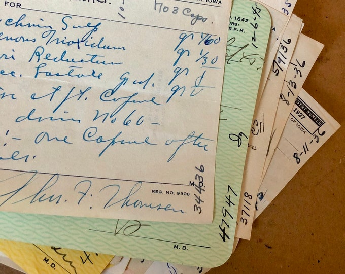 5pcs VINTAGE HANDWRITTEN PRESCRIPTIONS 1930s-50s Genuine Paper Ephemera Assemblage Medicine Drugs Pharmacy Handwriting Lot