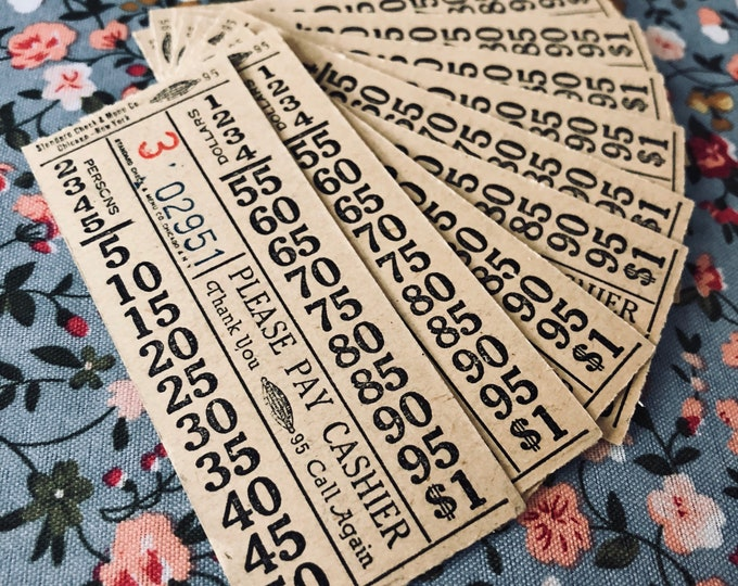 5pcs VINTAGE DINER TICKETS Waitstaff Checks Bills