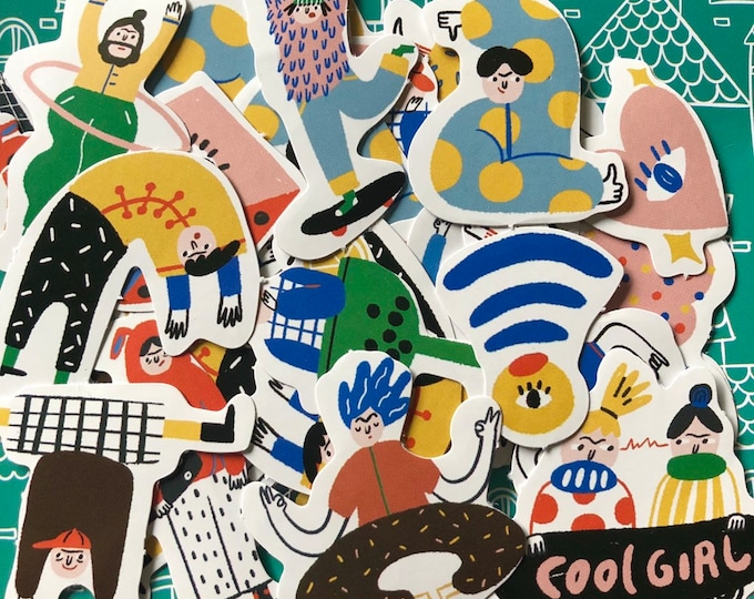 45pcs HAPPY PEOPLE STICKERS Hand Drawn Poses & Characters Zakka Labels Lot Seals Sticker Pack