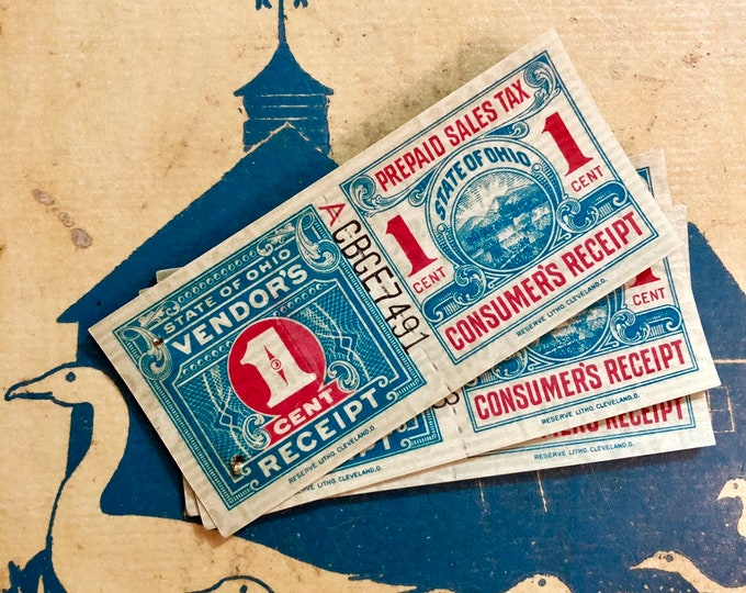 5pcs VINTAGE TAX COUPONS State of Ohio Consumer's Vendor's Receipt Prepaid Sales Tax 1 Cent Genuine Authentic Paper Ephemera Lot