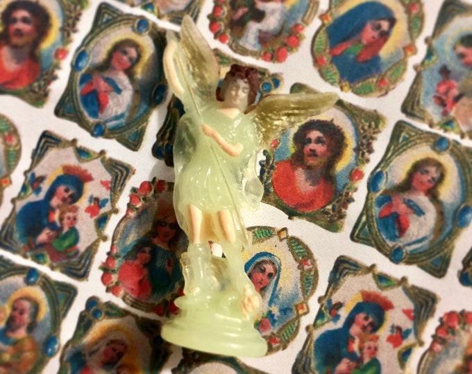 SAINT MICHAEL STATUETTE Luminous Plastic Figurine Religious Statue Glow In The Dark Glowing Catholic St. Michael Statue