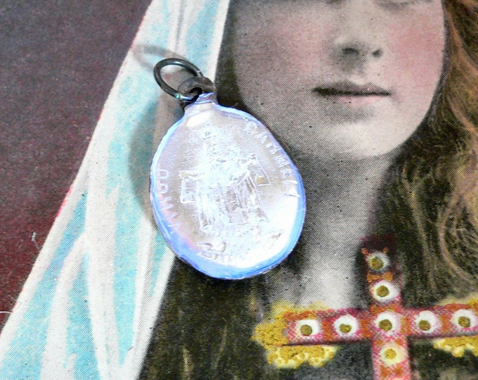 MERCURY GLASS CHARM Vintage Religious Medal Sacred Heart Virgo Carmeli