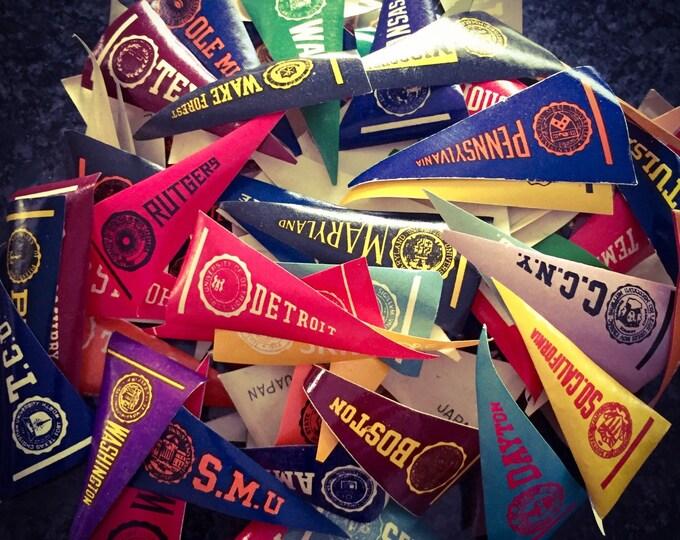 5pcs VINTAGE DOLLHOUSE PENNANTS Miniature Paper College Flags