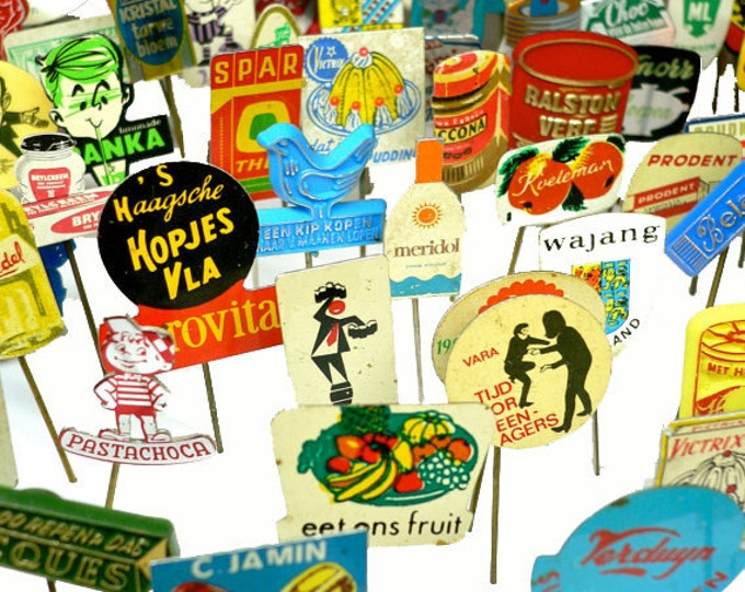 100pcs TINY ADVERTISING PINS 1960s-70s Vintage Dutch Retro All Metal