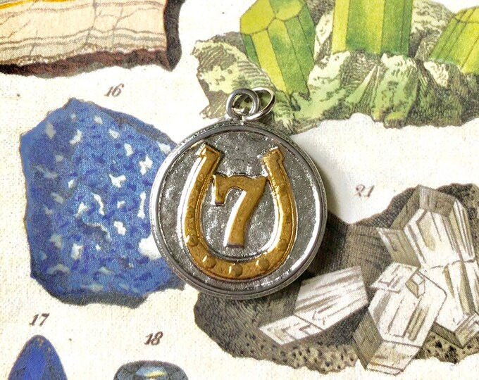 LUCKY 7 CHARM Industrial Vintage Good Luck Amulet Lucky Talisman