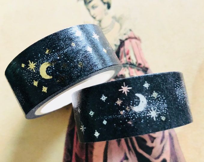 WITCHY MOON TAPE Sparkling Crescents & Stars Halloween Washi Roll 15ft Gold or Silver