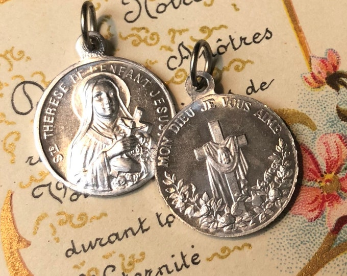 2pcs VINTAGE THERESE MEDALLIONS Religious Medals Charm Theresa Face of Jesus France
