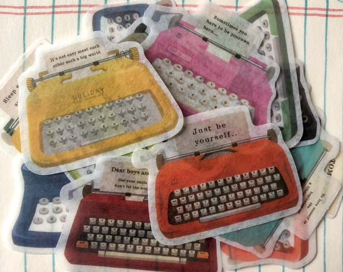 20pcs VINTAGE TYPEWRITER STICKERS Hand Illustrated Washi Sticker Pack Retro Office Vintage Labels Mail Art Seals Stationery Lot
